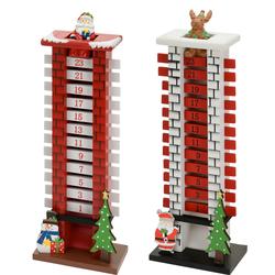 Adventskalender SCHORNSTEIN - Weihnachtskalender Kamin mit Figur 39x13x8 cm