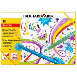 Eberhard Faber Filzstift Glitzer Filzstifte Fasermaler in Aufbewahrungsbox, (16-tlg), 16 Stifte