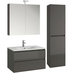 Allibert Badmöbel-Set Alma, (4-St), bestehend aus Waschplatz, Spiegelschrank und Hochschrank grau