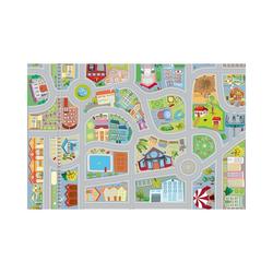Kinderteppich Spielteppich Stadt mit zwei Autos, ACHOKA®