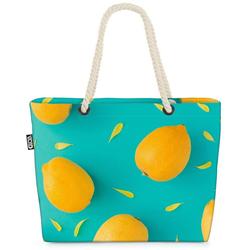 VOID Strandtasche (1-tlg), Zitronenmuster Beach Bag Früchte Frucht Essen Kochen Küche Obst Gesund Sauer