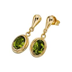 JOBO Paar Ohrhänger, oval 585 Gold mit Peridot