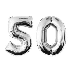 MyBeautyworld24 Folienballon Folienballon Zahlenballon in der Farbe silber Heliumballon Riesenzahl Geburtstag Deko Höhe 100 cm 50
