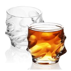 Intirilife Whiskyglas, Glas, 2x Whisky Glas in KRISTALL KLAR 'SCULPTURED' - Old Fashioned Whiskey Kristallglas