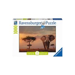Ravensburger Puzzle Puzzle 1000 Teile, 70x50 cm, Elefant in Masai Mara, Puzzleteile