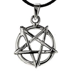 Kiss of Leather Kettenanhänger Pentagramm 925 Silber Anhänger Pentagram mit Ring schwarze Magie Satan