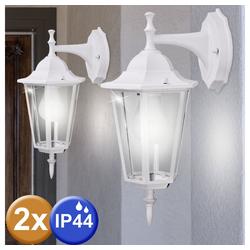 etc-shop LED Laterne, 2er Set Außen Bereich Wand Lampe Terrassen Garten Laterne ALU Glas Leuchte IP44
