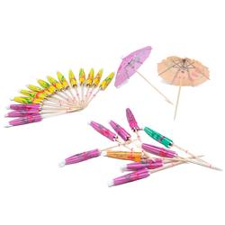 50 Cocktail Schirme Schirmchen Sticks Sonnenschirme Longdrink Picks Sommer Hawaii Party - Farbmix