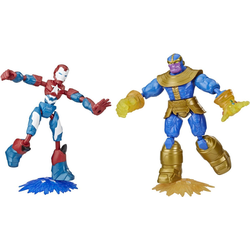 Hasbro Actionfigur Marvel Avengers: Bend And Flex, Iron Patriot vs. Thanos Figuren, (Set, 2-tlg)