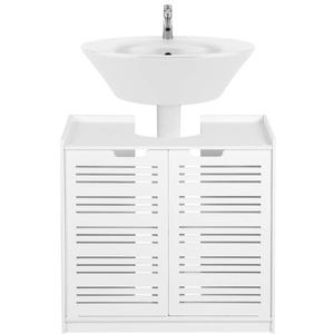 AYNEFY Waschbeckenunterschrank Badezimmer Unterschrank Weiss Moderner Badschrank Waschbecken Schrank mit 4 Fächer und 2 Türen für Badezimmer Küche, 60 x 60 x 30 cm