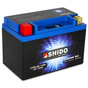 Batterie Shido Lithium LTX9-BS / YTX9-BS, 12V/8AH (Maße: 150x87x105) für KTM Supermoto 640 LC4 Baujahr 2000