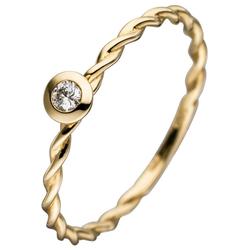 JOBO Diamantring, 585 Gold mit Diamant 0,05 ct. 58