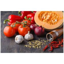 Wallario Sichtschutzzaunmatten Kürbissuppe - Zutaten Kürbis, Tomaten, Knoblauch, Zwiebeln und Pfeffer