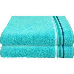 Schiesser Badetücher Skyline Color (2-St), mit Webbordüre blau
