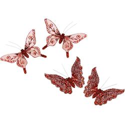 I.GE.A. Dekofigur »Deko-Schmetterling mit Clip«, Dekofiguren, 86384913-0 rot rot