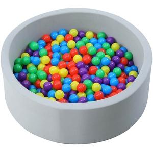 Kiddy-Fux - Bällebad 90cm + 500 Bälle für Kinder Bällebäder Babybälle Plastikbälle Ballpool Pool für Kinder Bällepool Schaumstoff Stoff Grey + Einlage weiches Material