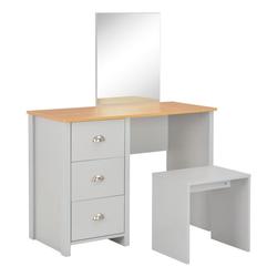 vidaXL Schminktisch vidaXL Schminktisch mit Spiegel und Hocker Grau 104 x 45 x 131 cm