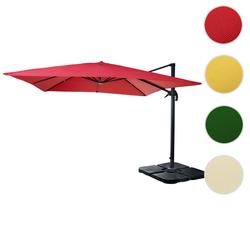 Gastronomie-Ampelschirm HWC-A96, Sonnenschirm 3x3m (4,24m) Polyester Alu/Stahl 23kg ~ rot mit Stnder