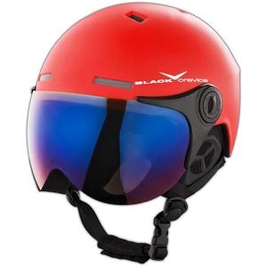 BLACK CREVICE Erwachsenen Skihelm im Pilotenstyle mit zusätzlichem orangem Wechselvisier, Red/White