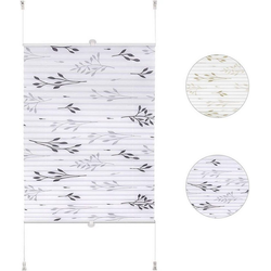Plissee, Woltu, Faltrollo Klemmfix ohne Bohren grau 90 cm x 130 cm