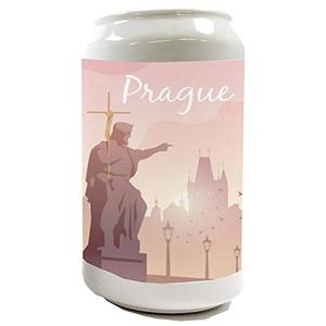 LEotiE SINCE 2004 Spardose Sparbüchse Geld-Dose Wiederverschließbar Farbe Weiß Stadt Prag Tschechien Keramik Bedruckt