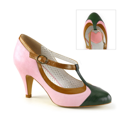 Retro T-Riemchen Pumps PEACH-03 - Rosa