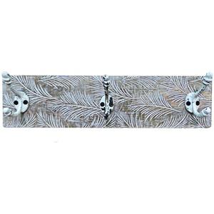 Wandgarderobe 39 cm Garderobenbrett mit Haken Holz Garderobenleiste Vintage Shabby Hakenleiste Garderobe 3 Haken, Palmenblätter Design, Metallhaken mint natur, H 10 cm