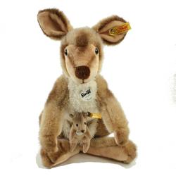 Steiff Kuscheltier Känguru mit Baby 40 cm stehend 064623 (Plüschkanguru Stoffkänguru, Plüschtiere Kängurus Stofftiere, Kangurubaby Babykänguru)