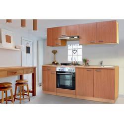 Küchenzeile Basic, mit Edelstahl-Kochmulde, Breite 210 cm braun
