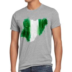 style3 Print-Shirt Herren T-Shirt Flagge Nigeria Fußball Sport Afrika WM EM Fahne grau 5XL