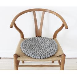 Wooldot Sitzkissen Uni Color, rund, Filzkugel-Teppich, Wolle, auch als Set bestellbar grau
