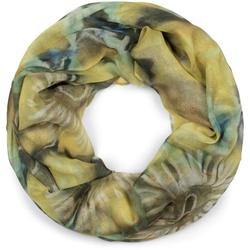 styleBREAKER Loop Loop Schal Aquarell Batik Blüten Loop Schal Aquarell Batik Blüten gelb