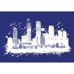 Rayher Siebdruckschablone Skyline blau