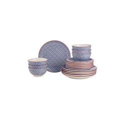 BUTLERS Single Geschirr-Set RETRO Dinner-Set 18-tlg. blau