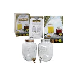 dynamic24 Getränkespender, 4L Glas Dispenser Zapfhahn Saftspender Wasser Cocktail Spender