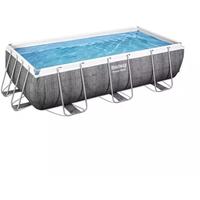 BESTWAY Power Steel Frame Pool Set 404 x 201 x 100 cm inkl. Filterpumpe grau Rattanoptik
