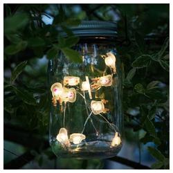 etc-shop LED Dekolicht, LED Solar Tisch Einmach-Glas Hänge Leuchte Party Deko Rentier-Lichterkette Globo 33129-16_Rentier