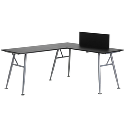 Laminate L - Shape Computer Desk with Frame Finish - Black Laminate Top/Silver Frame - Riverstone Furniture Collection