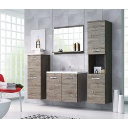 Feldmann-Wohnen Badmöbel-Set MALO, (Set, 5-St., 2 Hängeschränke + 1 Spiegel + 1 Waschbeckenunterschrank + 1 Waschbecken), Farbe wählbar grau
