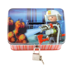 United Labels® Spardose Spardose Playmobil Feuerwehr rot