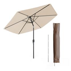 Oskar-Store Sonnenschirm 270cm beige inkl Schutzhülle Gartenschirm Terrassenschirm