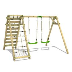 FATMOOSE Doppelschaukel Schaukelgestell JollyJungle - Schaukel, Schaukelgerüst, Kinderschaukel, Holzschaukel mit Kletteranbau