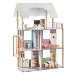 howa Puppenhaus, für Ankleidepuppen bis 30 cm incl. 19 tlg. Möbelset aus Holz