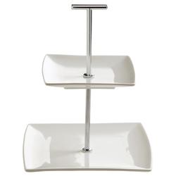 Etagere 2-stöckig Porzellan weiß DESIGNER H JX250118 (LBH 18x18x22 cm)