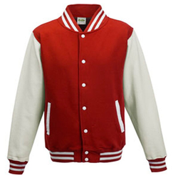 Kids` Varsity Jacket | Just Hoods Fire Red/White 3/4 (XS)