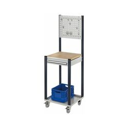 Mobile Arbeitsstation RAL 7035/7016, 1730 x 500 x 500 mm, 1 Schublade