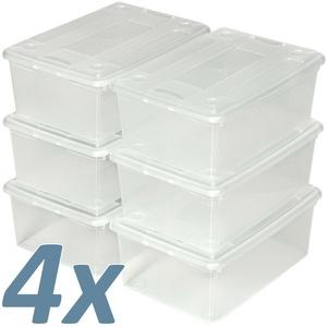 Schuhbox Set mit Deckel stapelbar Aufbewahrungsbox Kunststoffbox