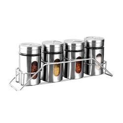esyBe Gewürzstreuer Gewürzstreuer-Set 4-teilig, Gewürzdose, Gewürzstreuer, Gewürzglas, Glas, Edelstahl, TWP01-01