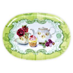 Lashuma Tablett Teeparty, Melamin, Esstablett oval, Geschirrtablett Kunststoff bunt 28 cm x 40 cm x 1.5 cm