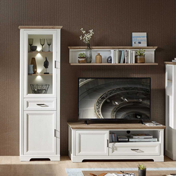 Fernseher Anbauwand im Landhaus Design LED Beleuchtung (3-teilig)